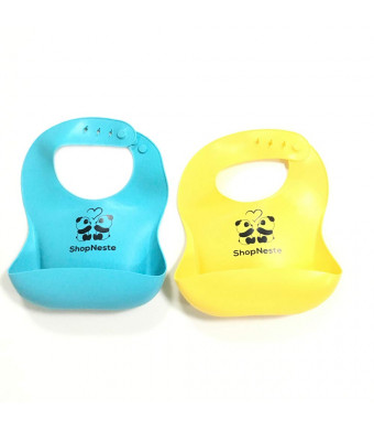 Comfortable Waterproof Silicon Baby Bibs for Babies and Toddlers, Wipes Clean Easily, Pack of 2, Blue and Yellow