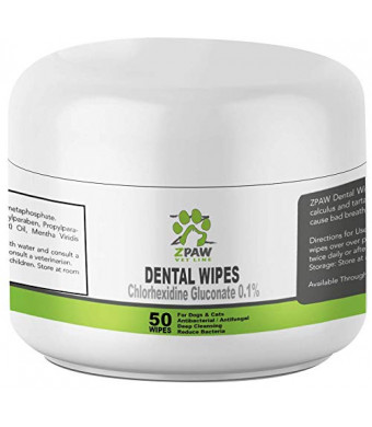 ZPAW Dental Wipes for Dogs and Cats | with Chlorhexidine and Sodium  Hexametaphosphate That Helps Remove Plaque Tartar Buildup Calculus and Bad  Breath,