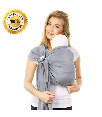Stylish Ring Sling Baby Carrier  Soft Bamboo Linen Fabric  Lightweight Wrap  for Newborns Infants Toddlers  The Perfect Baby Shower Gift  Nursing Cover  Great for New Parents (Silver Grey)