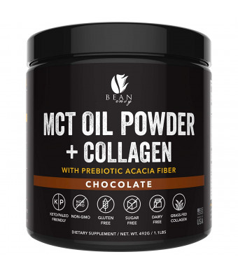 MCT Oil Powder + Collagen + Prebiotic Acacia Fiber - 100% Pure MCT's - Perfect for Keto - Energy Boost - Nutrient Absorption - Healthy Gut Support - Chocolate