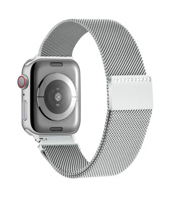 Tensea Compatible with Apple Watch Band 38mm 40mm, Magnetic Closure Stainless Steel Mesh Bling Sparkling Jewelry Milanese Loop Replacement for iWatch Band Series 4 3 2 1 (Silver)