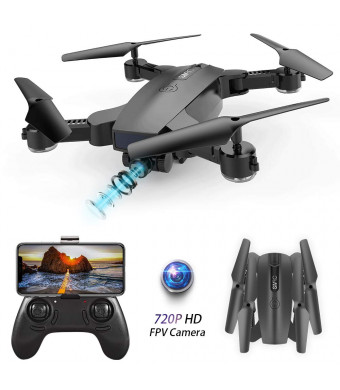 BEEYEO Drone with Camera for Adult 720P HD Wi-Fi Double Camera Live Video Feed Quadcopter for Kids and Beginners Optical Flow Positioning Quadcopter-Altitude Hold One Key Start Foldable