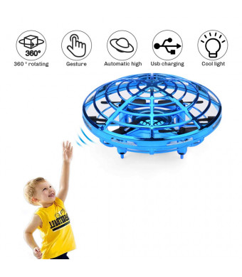UFO Flying Ball Toys, Gravity Defying Hand-Controlled Suspension Helicopter Toy, Infrared Induction Interactive Drone Indoor Flyer Toys with 360 Rotating and LED Lights For Kids, Teenagers Boys Girls