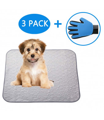 Paw Jamboree Washable Pee Pads for Dogs 2 Large and 1 Travel Training Pads for Dogs Absorbent Waterproof Pee Pad Reusable Puppy Training Pads Dog Whelping Mats