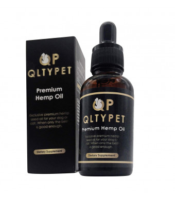 QltyPet Premium Dog Hemp Oil 500mg | Anti Stress and Arthritis Pain Relief Natural Seed Oil for Dogs and Cats | Boosts Immunity and Appetite | Herbal Drops Organic Extract for Healthy Joints and Skin | 30ml