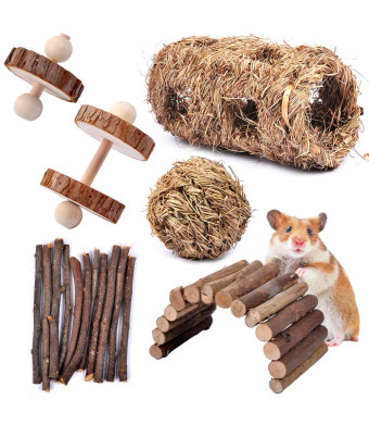 MyfatBOSS Pack of 6 Hamster Chew Toys - Natural Apple Sticks Hamster Ladder Bridge Unicycle Dumbells Exercise Roller Teeth Care Molar Toy, for Rabbits Rat Guinea Pig Chinchilla and Other Small Pets
