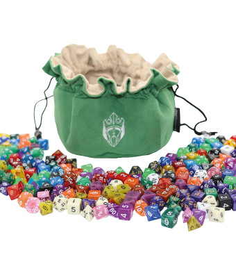 CardKingPro Immense Dice Bags with Pockets - Green - Capacity 150+ Dices - Great for Dice Hoarders