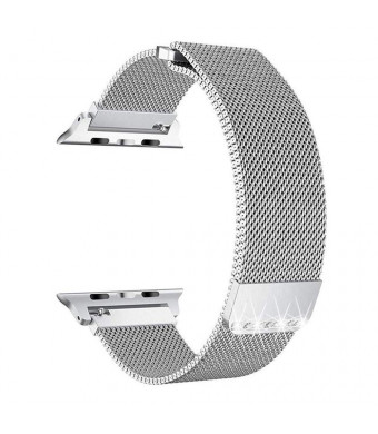 Goton Compatible with Watch Band 40mm 38mm, Rhinestone Mesh Stainless Steel Adjustable Magnetic Closure Bling Milanese Loop Replacement for Watch Series 4 3 2 1 (Silver, 40mm/38mm)