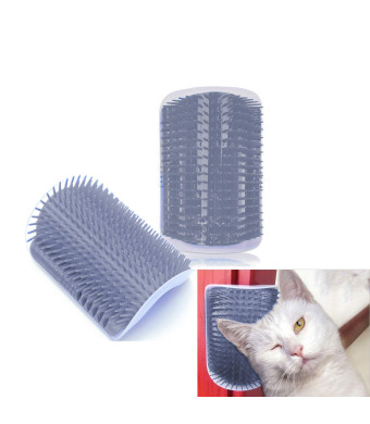 Hub's Gadget 2 Pack Cat Self Groomer, Wall Corner Massage Comb Grooming Brush with Catnip Pouch