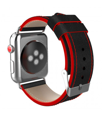 Compatible with Apple Watch Band 42mm 44mm, Vitech TOP Genuine Leather Replacement Band Compatible with Apple Watch Series 4 (44mm) Series 3 2 1 (42mm) Sport and Edition (Black/Red D, 42/44MM)