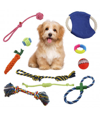 VOIMAKAS Puppy Dog Chew Toys, 10 Pack Dog Chew Rope Toys for Puppies Teething, Dental Cleaning and Playtime Dog Teething Toys Dog Toy Set for Small Medium Dog Breeds