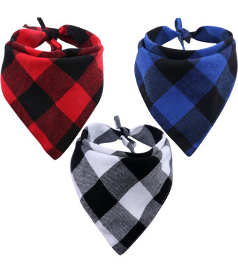 KZHAREEN 3 Pack Dog Bandana Plaid Reversible Triangle Bibs Scarf Accessories for Dogs Cats Pets Animals