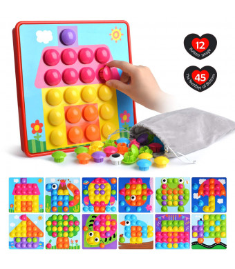 Button Art Toys for Toddlers Color Matching Mosaic Pegboard Early Learning Educational Puzzle Peg Board Games Best Gift for Preschool Kids