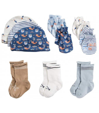 ZAPLES Unisex Baby 3 Pack Socks, 3 Caps and 4 Pack Scratch Mittens Set, 0-6 Months Newborn and Infant