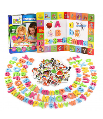 BizzyBrainz Magnetic Letters Mega Set - 158-Pieces ABC Magnets, Numbers and Objects for Kids | Educational Foam ABC Learning Toy Game with Nifty Play Board + Activity eBooks