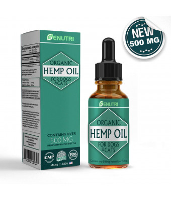 GENUTRI Organic Hemp Oil for Dogs and Cats  Nutritional Oil, Calming Medication, Joint Mobility Support, Joint Pain Relief, Skin and Fur Support for Pets  Zero THC, Safety Guaranteed