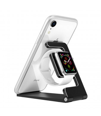 MoKo Foldable Charging Stand Compatible with Watch, 2 in 1 Adjustable Aluminum Alloy Charger Station Dock Fit with Watch Pad Phone, Black