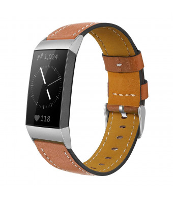 Shangpule Compatible for Fitbit Charge 3 and Charge 3 SE Bands, Genuine Leather Band Replacement Accessories Straps Charge 3 Women Men Small Large