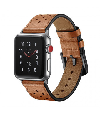 SUNKONG Compatible Apple Watch Band Genuine Leather 42mm, Sports and Fashionable Premium Genuine Leather iWatch Band for Apple Watch Series 4/3/2/1 and All Models, Apple Watch Band 42mm Leather
