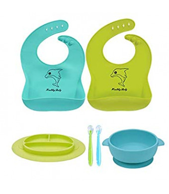 6 Pack Baby Bowl Plate Bibs Spoons Set, Strong Suction Best Toddler Self Feeding and Waterproof Bibs, 100% FDA Approved BPA Free Soft Silicone, Easy to Clean