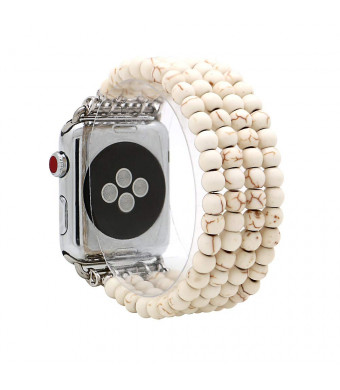 KAI Top Replacement iWatch Band Fashion Beaded White Turquoise Elastic Jewelry Bracelet Band Strap Women Girl Compatible for 38mm 42mm Apple Watch Series 3/2/1 (White Turquoise, 42mm)