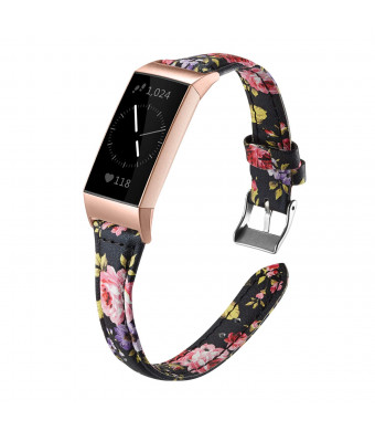 Shangpule Bands Compatible Fitbit Charge 3 for Women, Slim Premium Leather Band Flower Design Replacement Strap Accessories for Charge3 Large Small