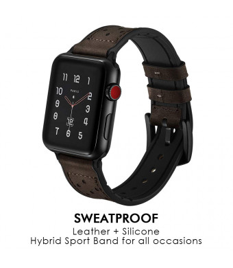 Hybrid Leather Sports Band Compatible with Apple Watch 42mm 44mm Luxury RUCHBA Comfort Practicality Sweatproof Silicone+Leather Replacement Straps Compatible with iwatch Space Black 4 1 2 3 Dark Brown