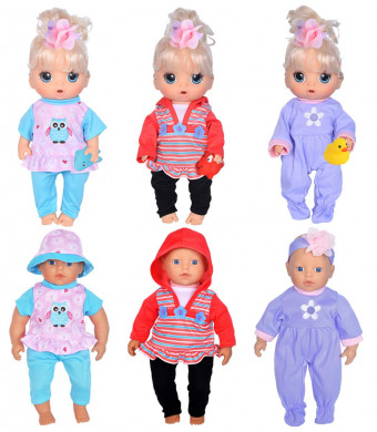 """ebuddy 3-Set Playtime Outfits with 3pcs Squeeze Sound Toys for 11""""-12""""-13"""" Dolls Like 11-inch Baby Dolls /12-inch Alive Baby Dolls New Born Baby Dolls"""
