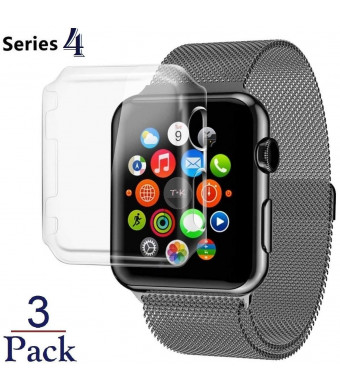 Josi Minea x3 Pcs iWatch 4 Protective Snap-On Case with Built-in Screen Protector - Shockproof and Anti-Scratch Shield [ PC Hard Clear ] Thin Cover compatible with Apple Watch Series 4 [ 44mm - 3 Pack ]