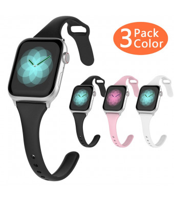 HALLEAST Slim Watch Sport Bands, Narrow iWatch Bands 38mm 40mm Women, Compatible for Apple Watch Band 38mm, Soft Silicone Strap for Series 4,3,2,1, Black Pink White, 3 Packs