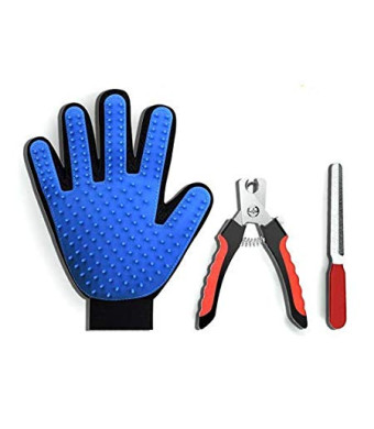 PawCare Pet Grooming Gloves- Deshedding Gloves for Dogs and Cats, Paired with Dog Nail Clippers, and a Free Nail File.