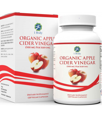Organic Apple Cider Vinegar Pills  Bloating Relief and Weight Loss  Hunger Suppressant for Women and Men  May Assist with Detox Cleanse, Weight Loss, Healthy Digestion  1500 mg - 120 caps
