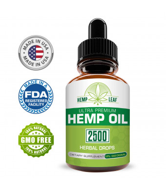 Hemp Oil 2500 for Pain Relief - Hemp Oil for Stress Support - Anti Anxiety, Sleep Supplements - Herbal Drops - Rich in MCT Fatty Acids - Natural Anti Inflammatory for Relaxation