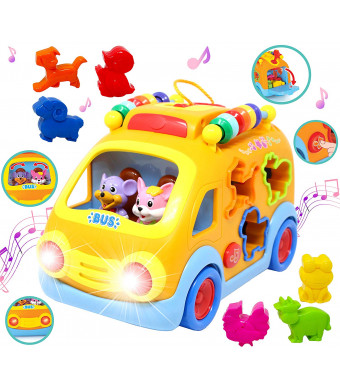 JOYIN Shapes and Sounds Musical School Bus Baby Toy with 3D Animals, LED Light Up for Boys and Girls, Infant, Toddler Interactive Learning, Educational Gift, School Classroom Prize and Holiday Toy