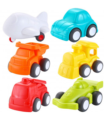 JOYIN 6 Pack Toddler Car Toys Push Go Free Wheel City Traffic Little Cars Baby Car Toys Early Educational Toys For 1-2 Years Toddlers