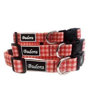Budora Direct 4 Design Checkered Pattern Red, Baby Blue, Pink, Black, Playful Puppy Senior Male Female Cute Adjustable Pet, Dog, Cat Collars