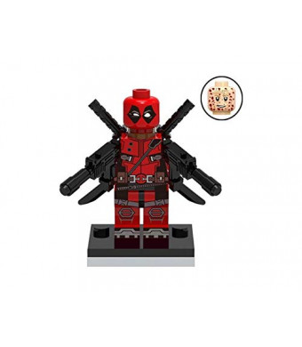 KOPF Deadpool Minifigure Action Figure with Weapons an Base Plate