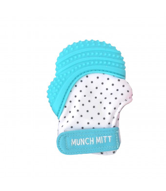Malarkey Kids Munch Mitt Teething Mitten - The ORIGINAL Mom-Invented Silicone Teether Mitten with Travel Bag  Ideal Teething Toys for Baby Shower Gift - Aqua Polka Dot