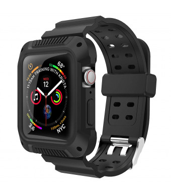 VORI Compatible with Apple Watch Band 44mm 40mm with case, Rugged Protective Case with Sport Silicone Strap Bands Shock-Proof and Shatter-Resistant Case for iWatch Series 4 Edition 2018 Release
