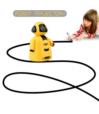 Betheaces Mini Inductive Robot Kids Magic Pen Boys Girls Birthday Gift Toddler Smart Educational Toys with Eye LED Light Intelligent Novelty Robotics Kit Batteries Included-1 Piece (Yellow)