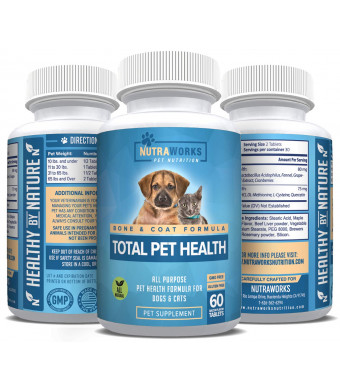 Total Pet Health Multivitamin for All Dogs and Cats - Essential Vitamins and Minerals Support Hip and Joints, Heart and Immune System, Hair and Coat Health with Biotin, CoQ10 and More - For Senior Pets and All Ages