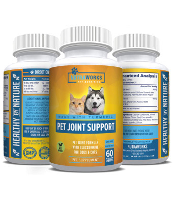 Pet Joint Support Supplement with Turmeric, Glucosamine, Chondroitin and MSM for Dogs and Cats - Improves Mobility, Arthritis Pain Relief, Joint Inflammation, Healthy Cartilage, Hip and Joint Health