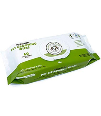 Biodegradable Dog Wipes   Grooming Pet Wipes for Dogs (Cat Wipes), Eye, Ear and Paw Puppy Wipes, Deodorizing, Hypoallergenic, Natural Extracts and Fragrance Free, Extra Thick and Soft, Supports Rescues