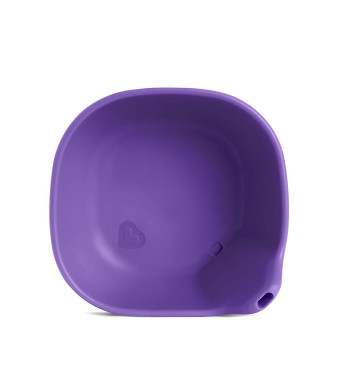 Last Drop Silicone Toddler Bowl with Built-In Straw, Purple