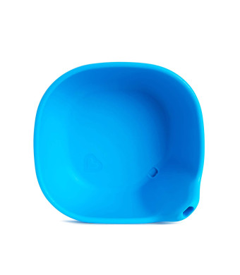 Last Drop Silicone Toddler Bowl with Built-In Straw, Blue