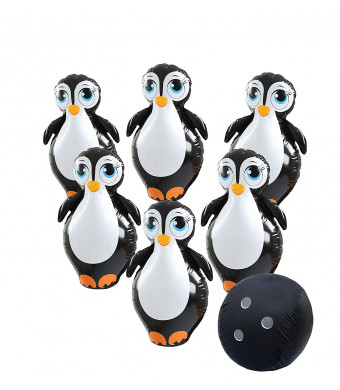 Etna Giant Inflatable Penguin Bowling Set. Jumbo Size, Six Pins and Ball with Stretchy Fabric Cover for Bowling Ball. Inflates Easily. Indoor and Outdoor. All Ages Kids and Adults