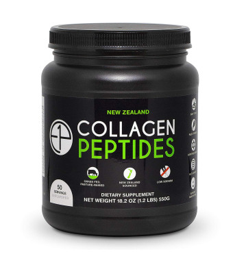 New Zealand Collagen Peptides Powder (18.2oz) 50 Servings Unflavored, Grass-Fed, Pasture-Raised, Non-GMO