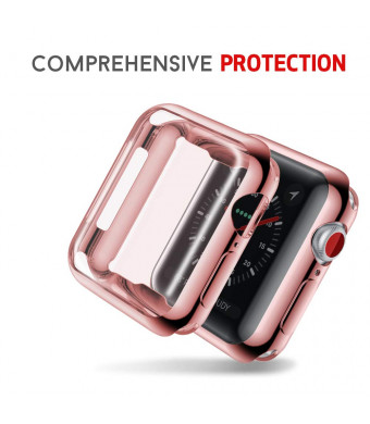 Smiling Apple Watch 4 Case with Buit in TPU Screen Protector 40mm- All Around Protective Case High Definition Clear Ultra-Thin Cover Apple iwatch 40mm Series 4 (Rose, 40mm)