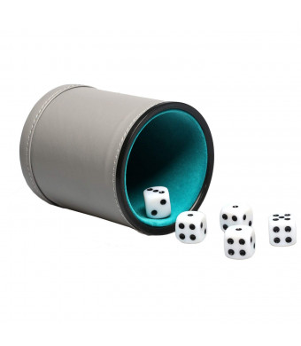 Leatherette Dice Cup Set Felt Lined with 16mm Dot Dices Shaker for Yahtzee Bar Party Dice Games - Grey