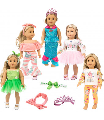 "ZITA ELEMENT 11 Pcs Clothes Outfits for American 18 inch Girl Doll Cosplay | Unicorn Pattern Dress, Indian Style Pajamas, Strapless Clothes, Clover Skirt, Mermaid Outfits for 18"" Dolls"